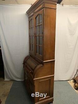 Antique Victorian Burled Walnut Cylinder Desk Bookcase / Secretary