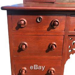 Antique Victorian Carved Walnut Slant Front Lawyers Secretary Desk