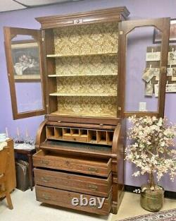Antique Victorian Cylinder Roll Top Secretary Desk with Bookcase Top