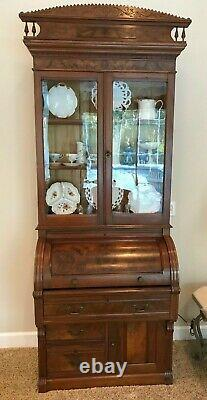 Antique Victorian Cylinder Secretary Desk with Bookcase/Display Top