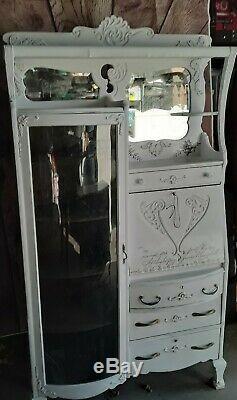 Antique Victorian Furniture Secretary Desk Bookcase Cabinet c. 1900 beautiful