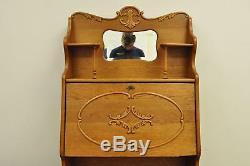 Antique Victorian Golden Oak Slant Drop Front Secretary Desk Bookcase with Mirror