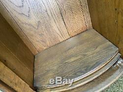 Antique Victorian Golden Oak Slant Drop Front Secretary Desk Bookcase with Mirrors