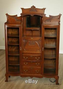 Antique Victorian Oak Double Side by Side Bow Glass Bookcase, Secretary Desk