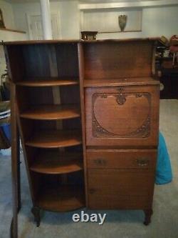 Antique Victorian Oak Secretary Side By Side Desk & Bookshelf Curved Door
