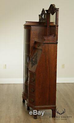 Antique Victorian Oak Side by Side Secretary Desk Bookcase