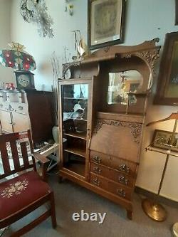 Antique Victorian Side-By-Side Secretary Desk with Bookcase/Curio Shelves