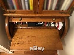 Antique Victorian Solid Oak Cylinder Roll Top Secretary Desk and Bookcase
