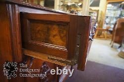 Antique Victorian Walnut Burl Butlers Desk Secretary Secretaire Cabinet Buffet