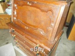 Antique Victorian Walnut Cameo Style Drop Front Desk