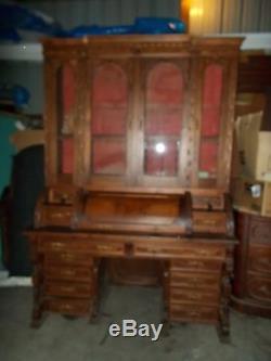 Antique Victorian Walnut Cylinder 4 Door Kneehole Secretary Desk