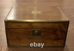 Antique Vintage 1902 Folding Travel Salesman Lap Secretary Writing Desk Trunk