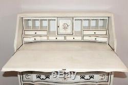 Antique Vintage French Floral Hand Painted Secretary Desk Cabinet Louis XV