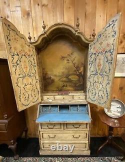 Antique Vintage Italian Florentine Painted and Parcel Gilt Secretary Desk