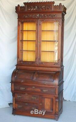 Antique Walnut Cylinder Secretary Desk original finish