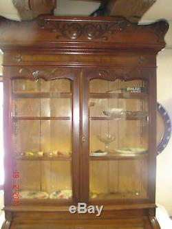 Antique Walnut Eastlake Victorian Cylinder-Barrel Roll Desk Secretary Bookcase