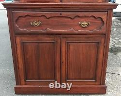 Antique Walnut Fall Front Butler Secretary Desk Cupboard Bookshelf Circa 1870-80
