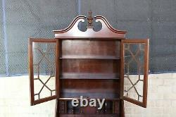 Antique Walnut Serpentine Secretary Desk Chippendale Style Bookcase Oxbow 80