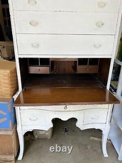 Antique White Bureau Writing Desk Secretary Hutch Chest Shabby Chic Cottage Lock