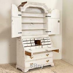 Antique White Painted Gustavian Secretary Desk Bureau, Sweden