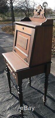 Antique Writing Desk Secretary Drop Slant Front
