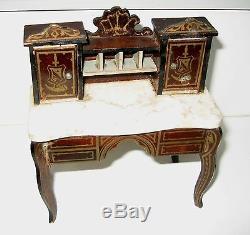 Antique miniature German Boule Biedermeier furniture gilt Secretary marble desk