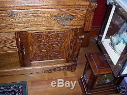 Antique quartercut oak cylinder desk bookcase secretary
