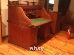 Antique roll top Teak wood desk 19001920