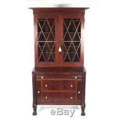 Antique secretary desk bookcase mahogany Empire 19th c