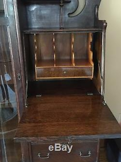 Antique tiger oak side by side secretary/desk/curio cabinet