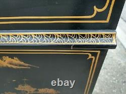 Asian Secretary Desk with Hutch Chinoiserie Chinese Oriental Black Gold Painted