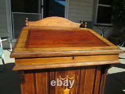 Beautiful 1800's antique inlay Davenport nautical desk cabinet secretary entry