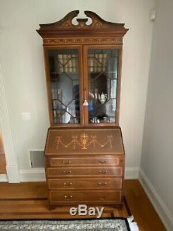 Beautiful Antique English Inlaid Arched Top Slant Front Two Door Secretary Desk