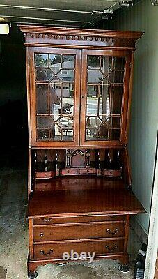 Beautiful Maddox Mahogany Secretary Desk with Bookcase Top, H 74, W 32, D 16