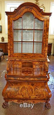 Beautiful Mixed Wood Inlaid Italian Secretary Desk With White Damask Fabric
