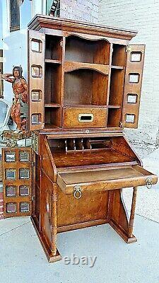 British Victoria Regina Postal cabinet mail sorters slat top Secretary desk