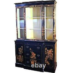 CHIPPENDALE CHINOISERIE BREAKFRONT CHINA CABINET Bookcase Secretary Curio Desk