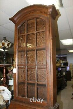 Carved Oak Bookcase on Secretary Desk with Drop Front & Wavy Glass