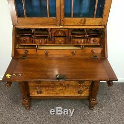 Circa 1820's C New England 2 Part Tiger Maple & Cherry Secretary Desk