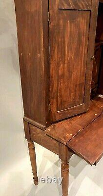 Country Sheraton Secretary Desk with Fitted Interior circa 1830