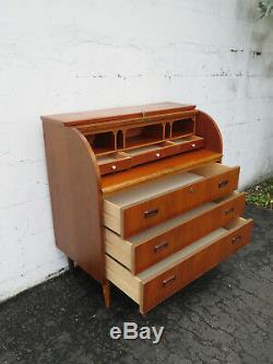 Danish Mid Century Modern Retro Cylinder Secretary Desk Dresser 9202