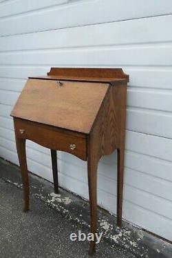 Early 1900s Small Oak Secretary Desk 1876