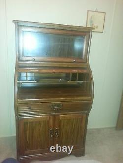 Eastlake Victorian Walnut Cylinder Roll Top Secretary Writing Desk