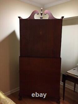 Elegant Mahogany Slant Front Desk/Secretary, Illinois Cabinet Company