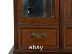 English Antique Aesthetic Movement Mahogany Secretary Desk Cabinet circa 1880