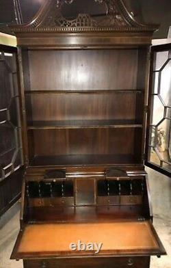English Georgian Style Mahogany Secretary Desk with Bookcase