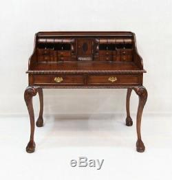 Escritoire Secretary Desk with 8 Cubbies and 17 Drawers Brown Walnut
