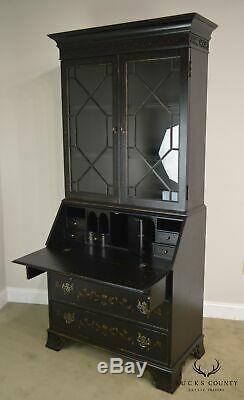 Ethan Allen Black Paint Decorated Chippendale Style Secretary Desk