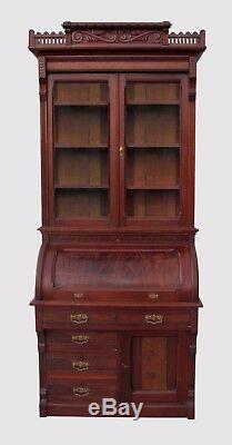 Excellent Antique Victorian Black Walnut Cylinder Roll Top Secretary Desk