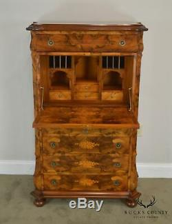 Exquisite Italian Marquetry Inlaid Abattand Secretary Desk